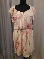 IKKS robe en voile de SOIE beige fleurs roses rouges taille 44 doublée cupro