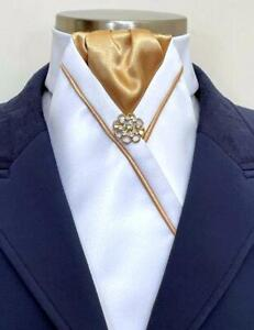 ERA Kate  White Stock Tie with  Gold Centre  & Trim  and  Brooch