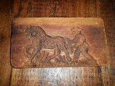 """Antique Wood Folk Art BLACK AMERICANA SLAVE springerle Butter Mold Stamp 11"""""""