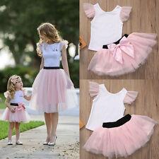 Mother Daughter Women Kid Girls Summer T-shirt+Skirt Tulle Dress Outfits Clothes