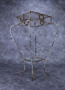 """Vintage Wrought Iron Plant Stand 29 3/4"""" Tall"""