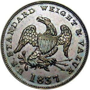 1837 Half Cent Worth Of Copper Hard Times Token HT-73 Low 49