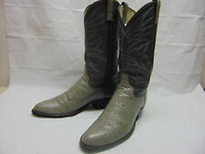 Mens 10 Dan Post Exotic Gray Leather w/ Blue Stitching Western Cowboy Ride Boots