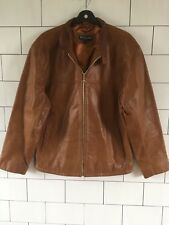 Mens Urban Vintage Retro Brown 80's style real leather jacket coat size large