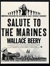 1943 Vintage Print Ad SALUTE TO THE MARINES Wallace Berry Movie Release