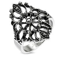 New Women's Antique Style Flower Burst 316L Stainless Steel Ring Size 6-10(3184)