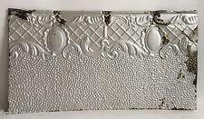 "Antique Tin Ceiling Tile Silver 12"" x 22.5"" Metal B63a"