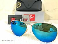 RAY BAN Aviator Sunglasses Matte Gold Frame RB3025 112/17 Blue Mirror Flash 62mm