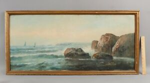 19thC Antique F. WEBBER American Impressionist Coastal Seascape Oil Painting NR