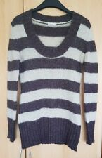 Sweater Cardigan Ladies Hooded Womens Jumper Striped Tunic Top UK size 8 10 12