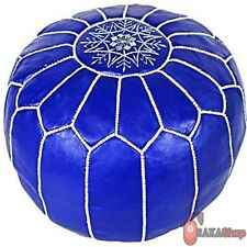 Genuine blue Leather Pouf Leather Boho Ottoman Footstool chairs,living room