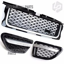 RANGE ROVER SPORT 05-09 AUTOBIOGRAPHY BLACK AND SILVER FRONT GRILLE SIDE VENTS