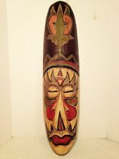 "Handcrafted Wood Mask Tribal 19"" Home Office Decor"