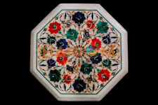 """12"""" Marble Side Coffee Table Top Multi Floral Marquetry Inlay Garden Decor W355"""