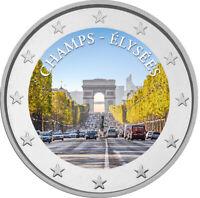 2 Euro Gedenkmünze mit Champs Elysee coloriert mit Farbe / Farbmünze Frankreich
