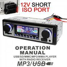 12V 1DIN Car Stereo Radio Bluetooth Audio Head Player FM MP3/USB/SD/AUX Remote