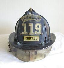 VINTAGE CHICAGO FIRE DEPT FIREMEN CAIRNS & BRO FIREFIGHTER HELMET FIBERGLASS FD