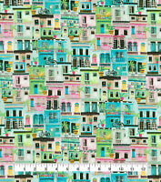 Pastel Cityscape 100% cotton fabric By-the-Yard for face masks or crafts