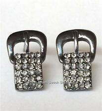 Crystal Silver Plated Belt Buckle Earrings Cowgirl Country Western USA Seller