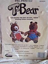 T-Bear Teddy Bear Boy Or Girl Kit Pre Printed Fabirc & Pattern Cut & Sew Raymar