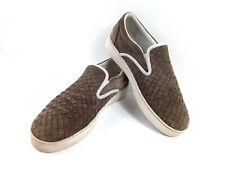 Bottega Veneta Men Loafers Grey/Brown Suede Woven Leather $590 Slipon Shoe 8.5-9