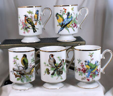 Royal Crown Porcelain Footed Gold Trim Bird Coffee Mugs/Tea Cups Japan lot of 5