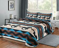 """Quilt King Blanket With 2 Pillow Shams Sw Wild Horse 108""""X90"""""""