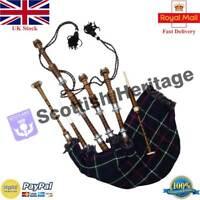 Highland Playable Scottish Bagpipe Brown Silver Beginner Package/Dudelsack/Gaita
