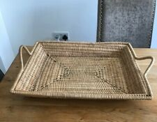 VINTAGE  XL WOVEN WICKER TRAY PLANT STAND MID CENTURY WITH HANDLES BOHO TIKI