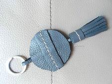 PORTE CLE / BIJOU DE SAC A MAIN  POMPON FRANGES KEY-RING 100 % CUIR GRIS / VERT