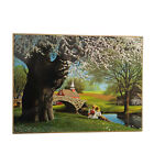 Paul Detlefsen Spring Blossoms Wood Plaque 1968 Vintage Boy Girl Church Bridge