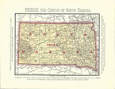 CIRCA 1890s: COLOR MAP OF PIERRE SOUTH DAKOTA BY JOHN SUTHERLAND-BOARD OF TRADE