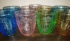 La Jolia Muse Drinkware Colorful Tumbler Set Of 9 Pink Blue Amber Green Boho