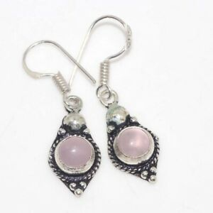 """Pink Chalcedony 925 Silver Plated Gemstone Earrings 1.6"""" Birthday Gift GW"""