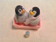 Calico Critters/Sylvanian Families Baby Penguins with Cradle & Bottle