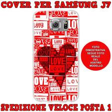 CUSTODIA COVER MORBIDA IN TPU PER SAMSUNG GALAXY J7 (J700) 2015 LOVE CUORE ROSSO