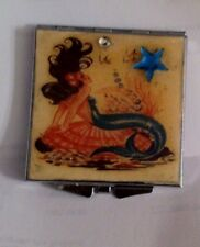 Collector 1950s Mod Mermaid Silver Square Mirror Compact w/ Crystal Star