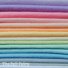 Wool Mix 9 inch Felt Squares 15 Pastel Colours + Matching Thread Soft Craft Felt