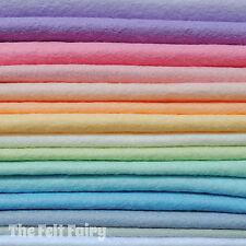 Wool Mix 9 inch Felt Squares 15 Pastel Colours + Matching Thread Soft Craft Felt