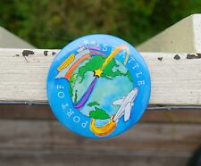 """Port of Seattle Round Metal 3"""" Pin Pinback Button Blue Planet Earth Plane Boat"""