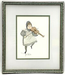 P. Buckley Moss Framed Ltd Ed Print Amish Girl Playing Fiddle  - Signed Matted