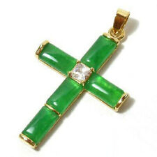 Fashion Emerald Green Jade 18KGP Crystal Cross Xmas Blessing Pendant & Necklace