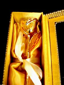 "ANNIVERSARY GIFT 24K Gold Dipped 11"" Real Rose in Gold Egyptian Casket Design"
