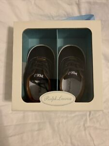 Genuine Polo Ralph Lauren Unisex Infant Vaughn Sneaker Navy Blue Size 4 Infant