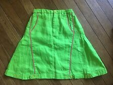 NWT Oilily Girls Skirt Size 140 8 10 Lime Green Pink 100% Linen Tessel
