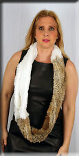 New White and Heather Infiniti Rabbit Fur Scarf Efurs4less