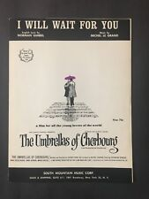 I Will Wait For You   1964 Sheet Music  -  The Umbrellas of Cherbourg
