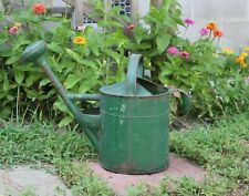 Antique Early 20thC Green Paint Galvanized Tin Metal Watering Can