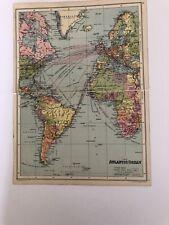 Antique 1930 Map: The Atlantic Ocean 90 Years Old Original Vintage Colour Print