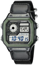 Casio Men's Digital 100m 10-Yr Battery Black Resin / Canvas Watch AE1200WHB-1B